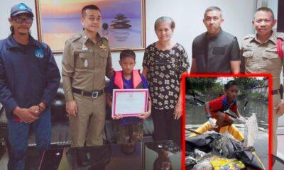 รางวัลคนดี สภ.ป่าตอง มอบเกียรติบัตรเด็กชายจิตสาธารณะเก็บขยะมูลฝอยในคลอง | The Thaiger