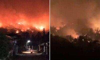 ภาพทะเลเพลิง ไฟป่าดอยจระเข้ แม่จัน ลามไป ต.ป่าตึง : ไฟป่าเชียงราย   The Thaiger