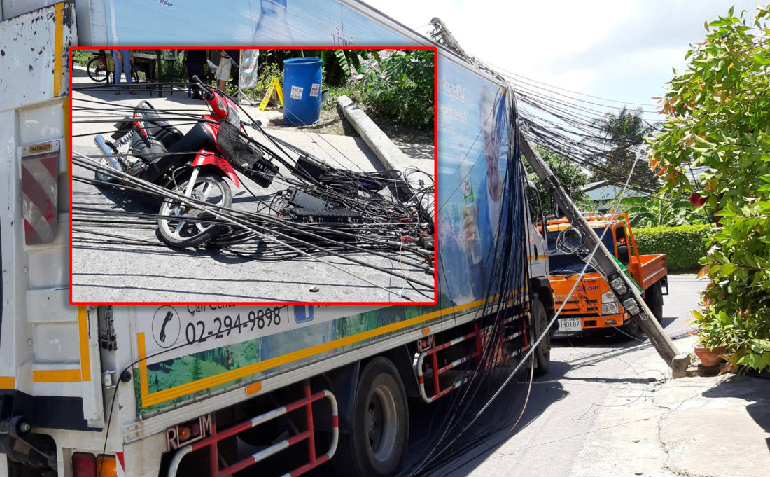 Truck brings down six power poles in Chalong, one injured | The Thaiger
