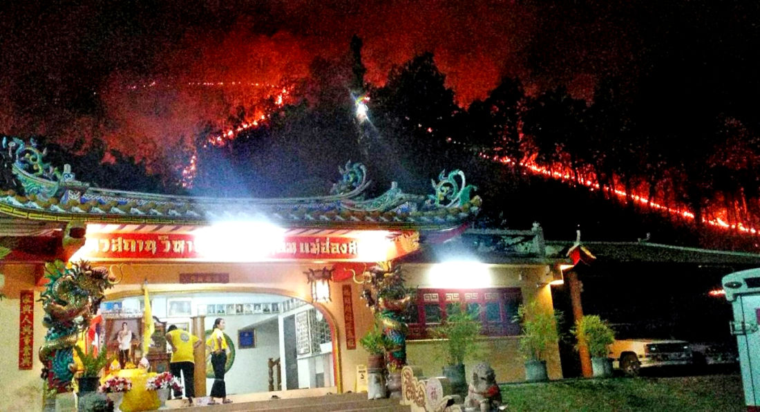 Forest fires very close to a revered shrine in Mae Hong Son | News by The Thaiger