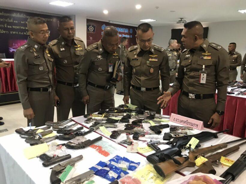 ตำรวจภูธรภาค 8 แถลงผลดำเนินการ 7 เดือน ยึดยาบ้า 15 ล้านเม็ด อาวุธเพียบ | News by The Thaiger