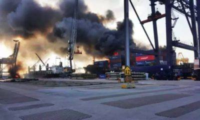ไฟไหม้คอนเทนเนอร์บนเรือสินค้าแหลมฉบัง เตือนสารเคมีรั่วไหล | The Thaiger