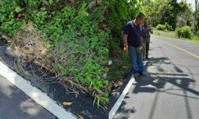 โซเซียลแชร์ว่อน มือดีขึงเส้นลวดมาขวางถนน โชคดี รถตุ๊กๆขับชนขาดก่อน | The Thaiger