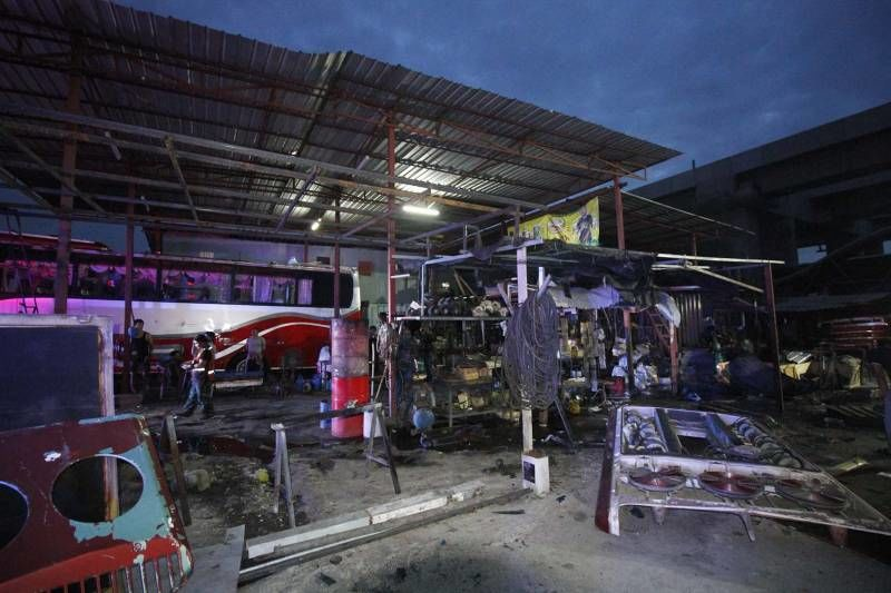 Five taken to hospital after tour bus air-con unit explodes in repair shop | News by The Thaiger