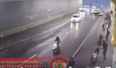 Motorbike riders injured in Chiang Mai underpass – VIDEO | The Thaiger