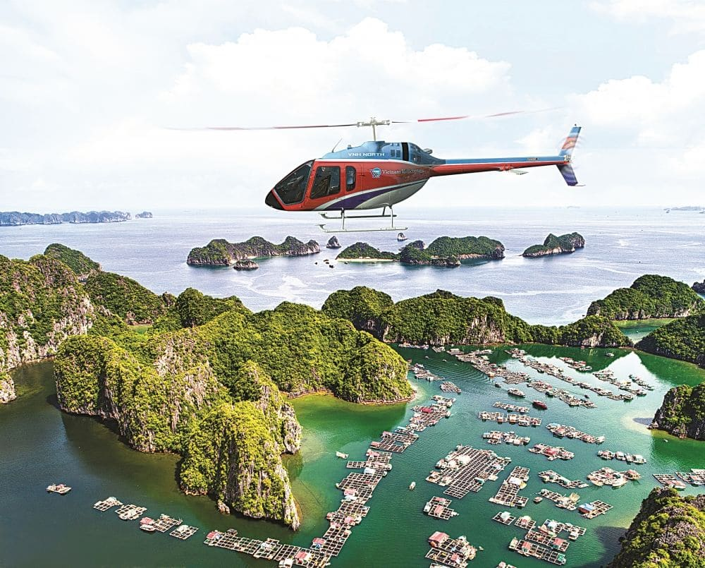 Helicopters high over Halong Bay, Vietnam | News by Thaiger