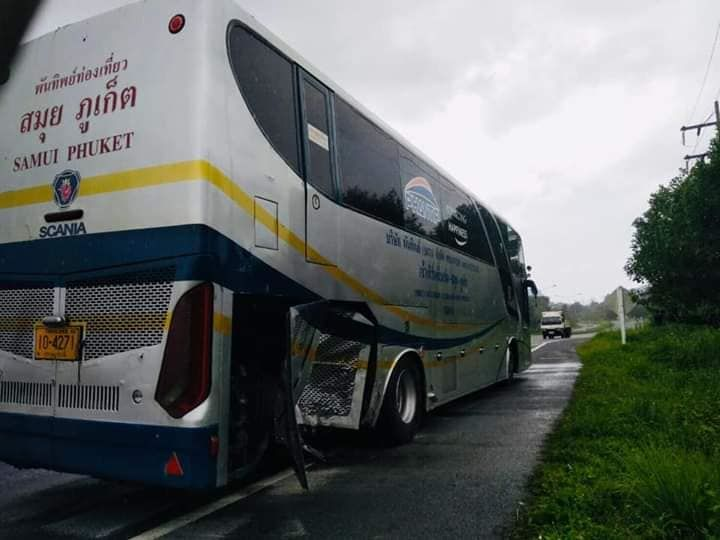 One injured in Krabi crash between police pickup and Samui-Phuket bus | The Thaiger