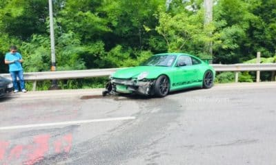 Porsche smashed up but Malaysian driver escapes injury in Krabi | The Thaiger