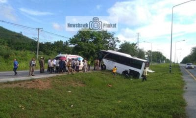 Four Chinese passengers injured in Phang Nga as wheel comes off tour bus – VIDEO | The Thaiger