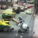 Military escort motorcycle rider smashes into Bangkok taxi – VIDEO | The Thaiger