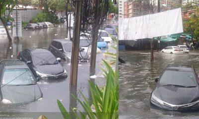 ประมวลภาพฝนถล่มกรุงเทพ น้ำท่วมรถเก๋งครึ่งคัน (โปรดระวังน้ำพุ่งจากฟุตปาธ) | The Thaiger