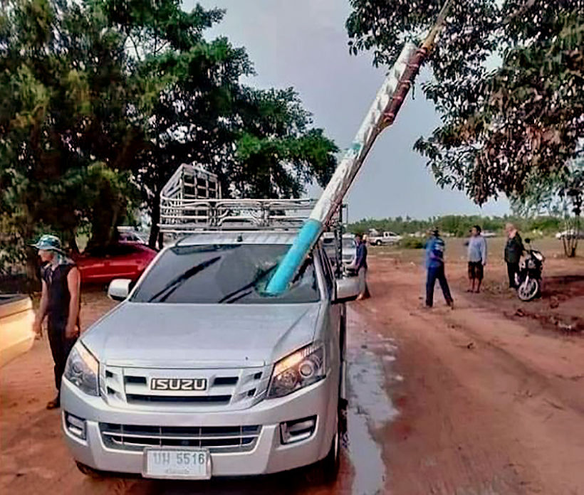 Wayward rocket lands in passenger seat of pick-up in Roi-et during annual rocket festival | News by Thaiger