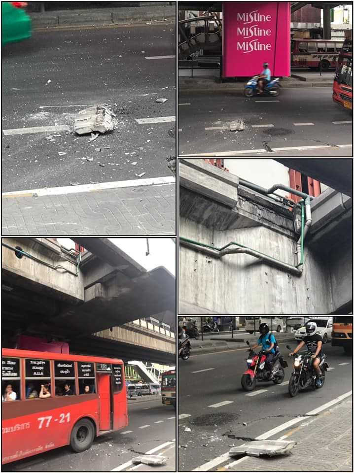 Concrete pieces from Ari BTS station in Bangkok fall on road below | News by Thaiger