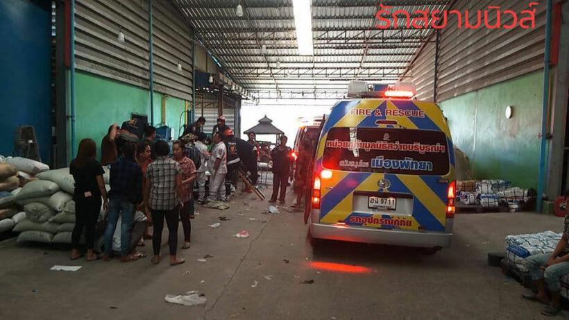Burmese worker gets his arm stuck in a shredding machine in Pattaya