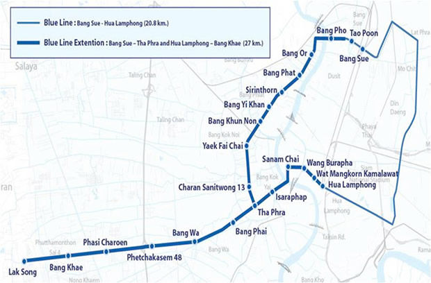 Bangkok's Blue Line from Hua Lampong to Bang Kae launched for 3 month trial   News by Thaiger