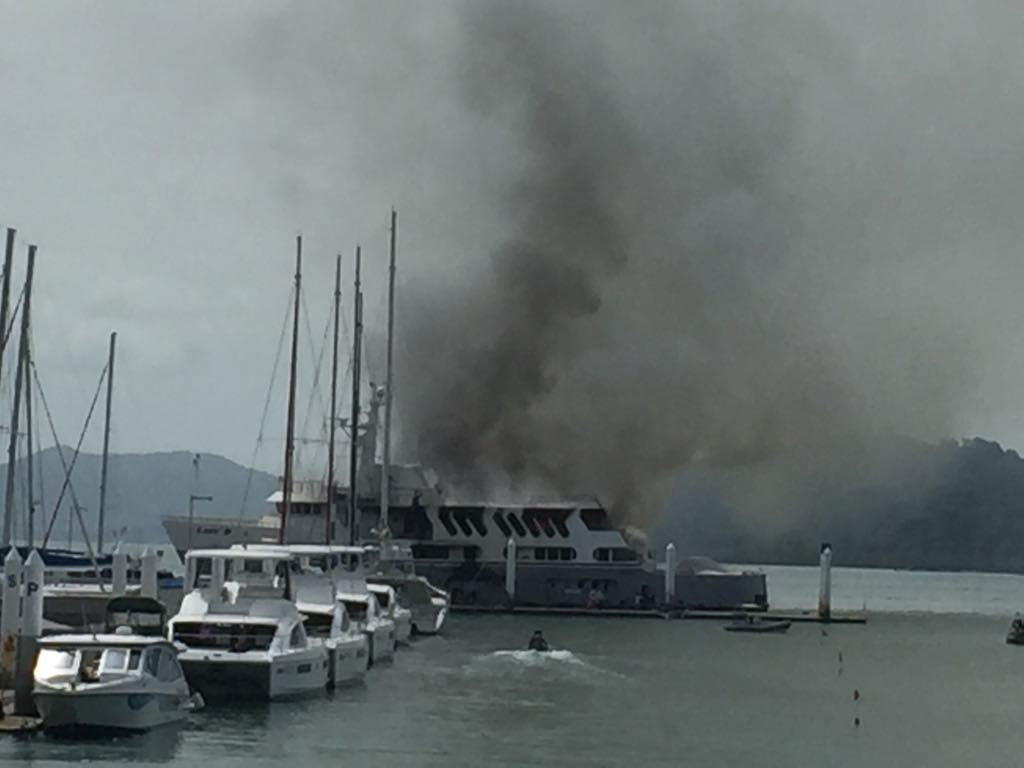 'Lady D' super yacht set adrift after firefighters fail to reach the burning yacht in Phuket   News by Thaiger