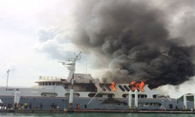 'Lady D' super yacht set adrift after firefighters fail to reach the burning yacht in Phuket | Thaiger
