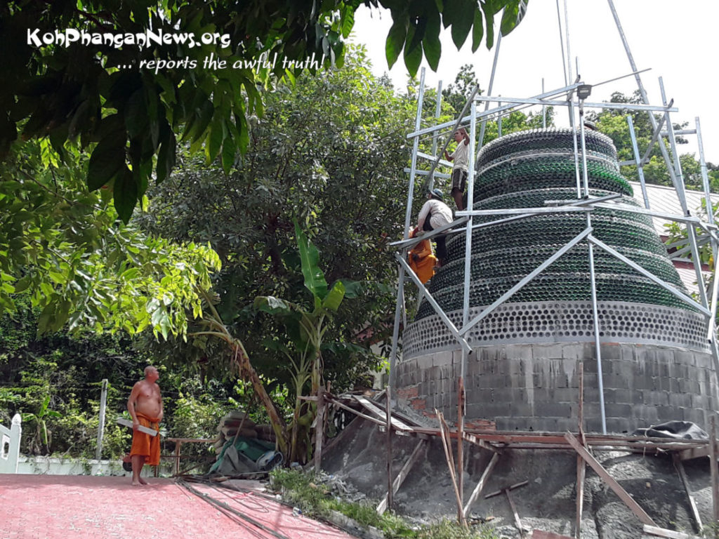 Monk builds Buddhist pagoda on Koh Pha Ngan out of beer bottles