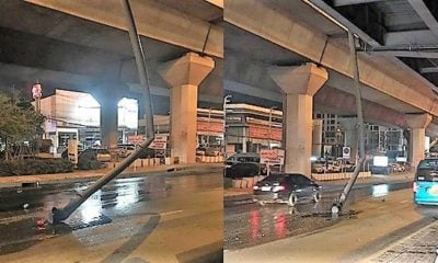 Bangkok motorcyclist lucky to be alive after water pipe falls right in his path | Thaiger