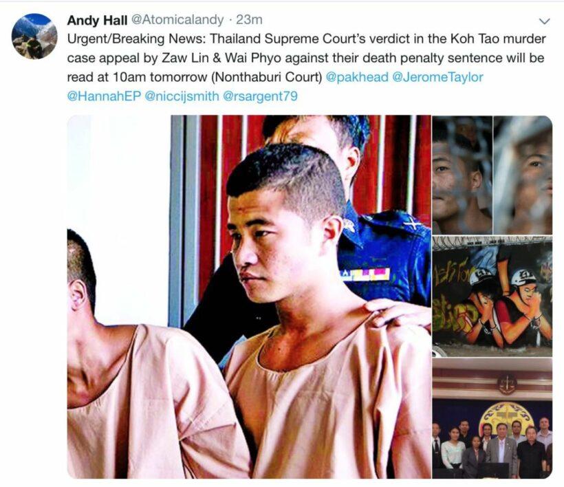 Thailand Supreme Court's hands down verdict on Koh Tao murder case appeal | News by Thaiger