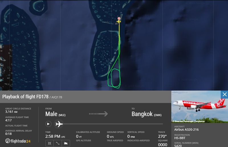 Air Asia flight, from Maldives to Bangkok, returns to Male after engine explodes   News by Thaiger