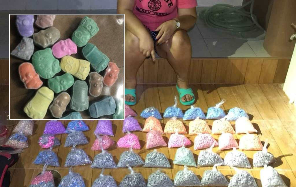 Colourful European ecstasy tablets targeting Thai youth