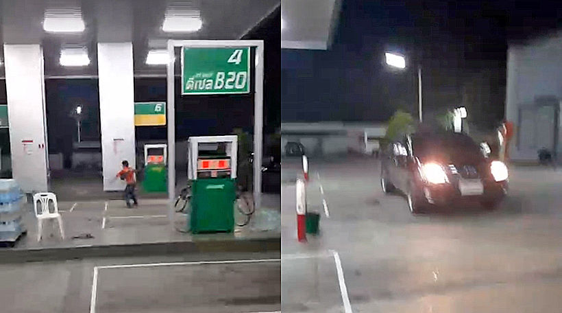 Angry driver terrifies employees at Chonburi gas station