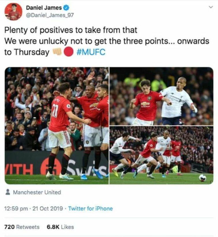 Người hâm mộ thích thú trước chia sẻ của Daniel James sau trận hòa Liverpool   News by Thaiger