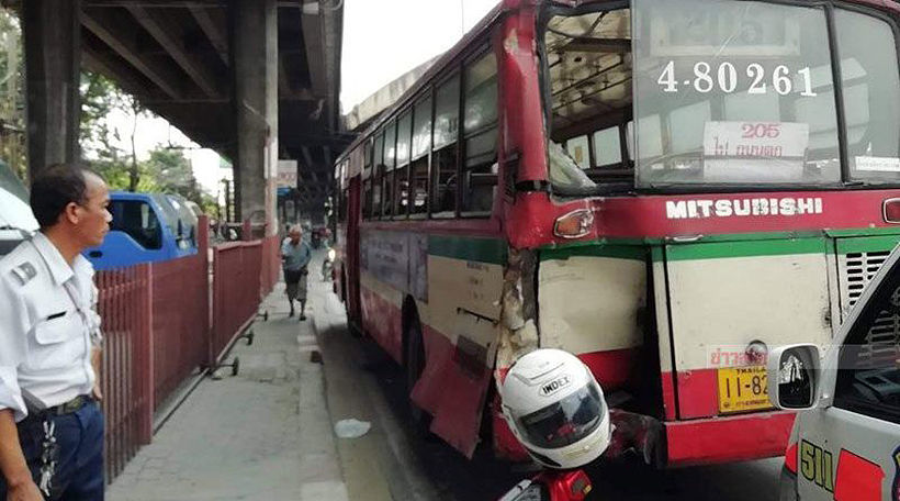 Truck causes buses to collide at BKK construction site, 11 injured