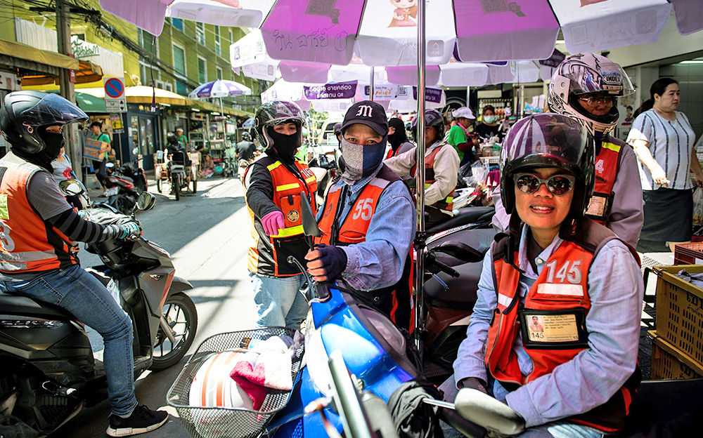 Motorcycle Taxi Ranks Off Sidewalks