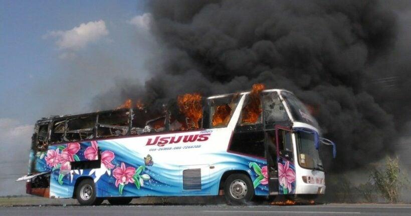 Wedding bus burns, passengers unharmed in Chai Nat   News by Thaiger