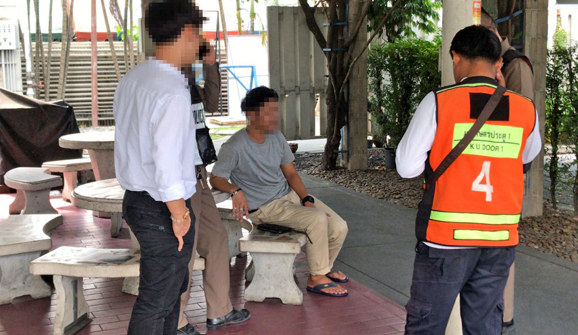 Worker detains a man who was filming him in petrol station toilets