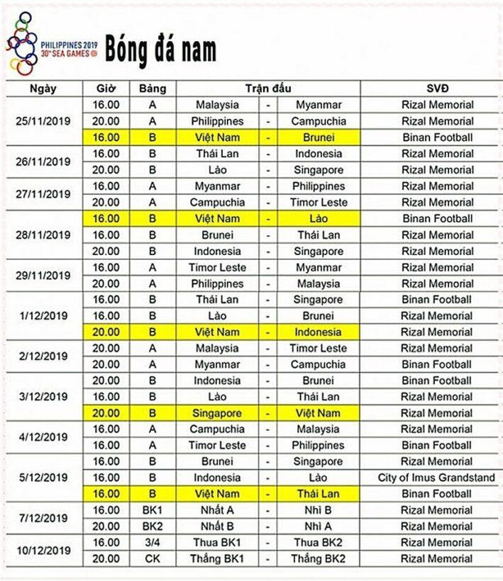 SEA Games 30: Cập nhật lịch thi đấu và kênh xem trực tiếp   News by Thaiger