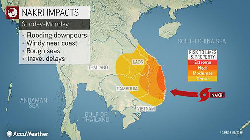 'Nakri' now upgraded to typhoon as it approaches Vietnam's coast   News by Thaiger