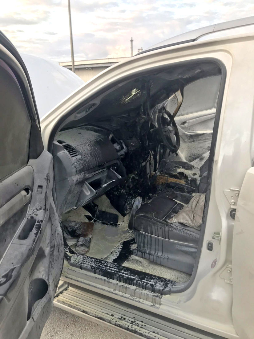 Pick-up destroyed by fire after dashcam exploded   News by Thaiger