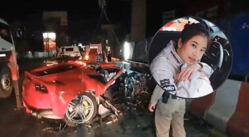 นักแข่งรถขับเฟอร์รารี่พา น้ำฝน ฮอร์โมน พุ่งชนแท่งแบริเออร์พังยับ | The Thaiger