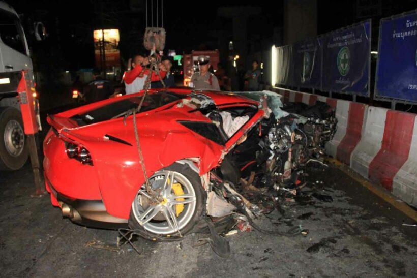 Lucky racer blames oil slick in Ferrari crash in Samut Prakan | News by Thaiger