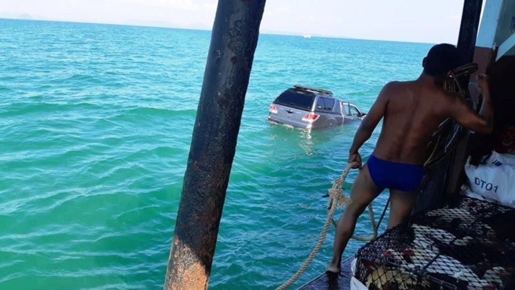 Unsecured pickup falls off of ferry bound for Phuket   News by Thaiger