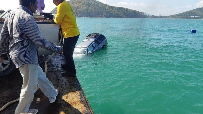 Unsecured pickup falls off of ferry bound for Phuket