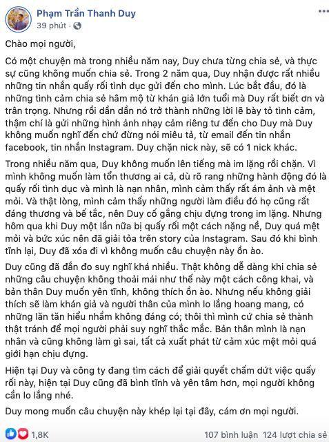 Thanh Duy lên tiếng về việc bị quấy rối tình dục suốt 2 năm   News by Thaiger