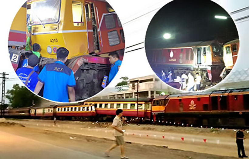 At least 30 injured in head-on train collision   Thaiger