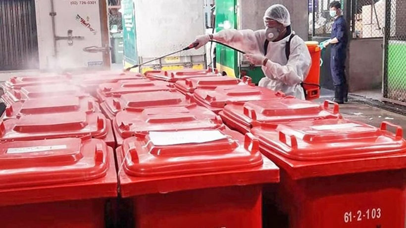 Red hazardous waste bins spring up in Bangkok for used masks, tissue | News by Thaiger