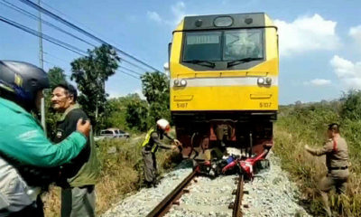 Motorcyclist crushed by train in Pattaya   Thaiger