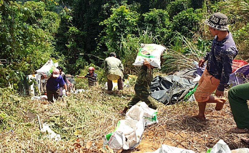 Lâm Đồng: Ô tô tải chở phân bón lao xuống vực sâu | News by Thaiger