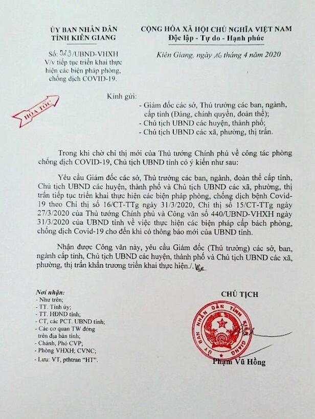 Tin COVID-19: Kiên Giang duy trì thực hiện Chỉ thị 15 và Chỉ thị 16 của Thủ tướng | News by Thaiger