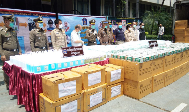 Police arrest 3 as they crack down on fake mask and gel network | News by Thaiger