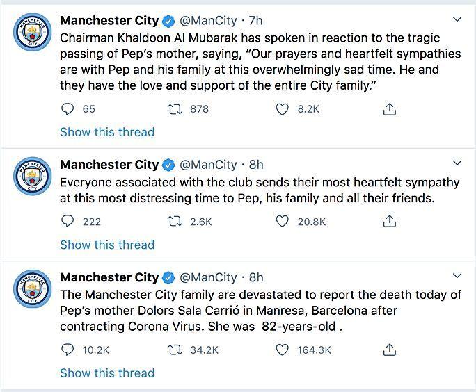 Mẹ của HLV Pep Guardiola qua đời vì Covid-19 | News by Thaiger