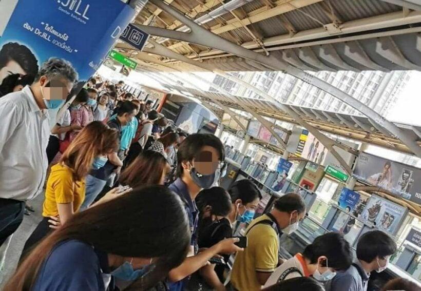 Lack of social distancing at BTS stations in Bangkok   The Thaiger