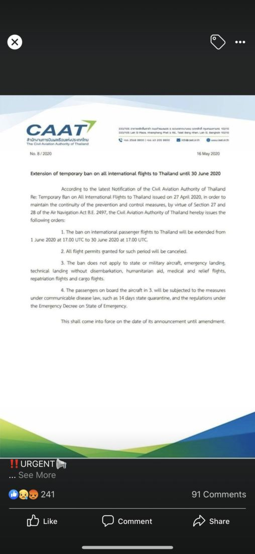 Ban on international travel into Thailand extended until June 30   News by Thaiger