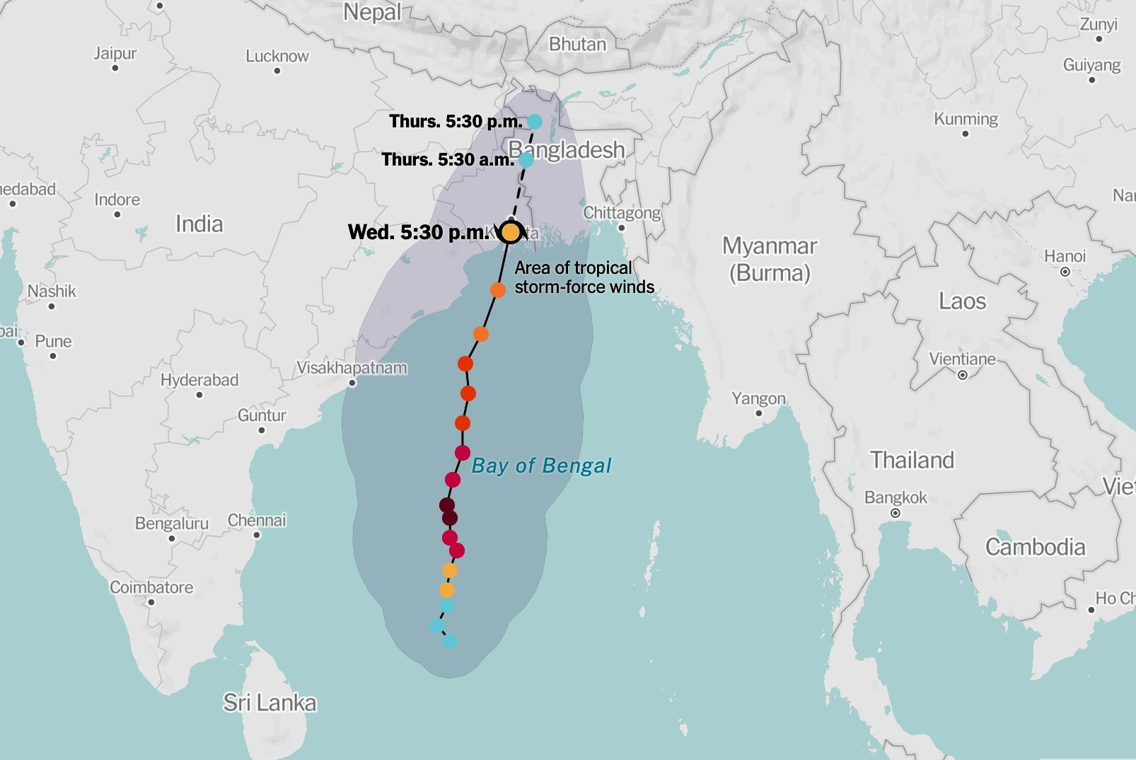 Cyclone Amphan: Crossed the coast and now saturating India and Bangladesh | News by Thaiger
